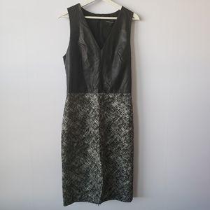 Banana republic faux leather top sheath dress 12T